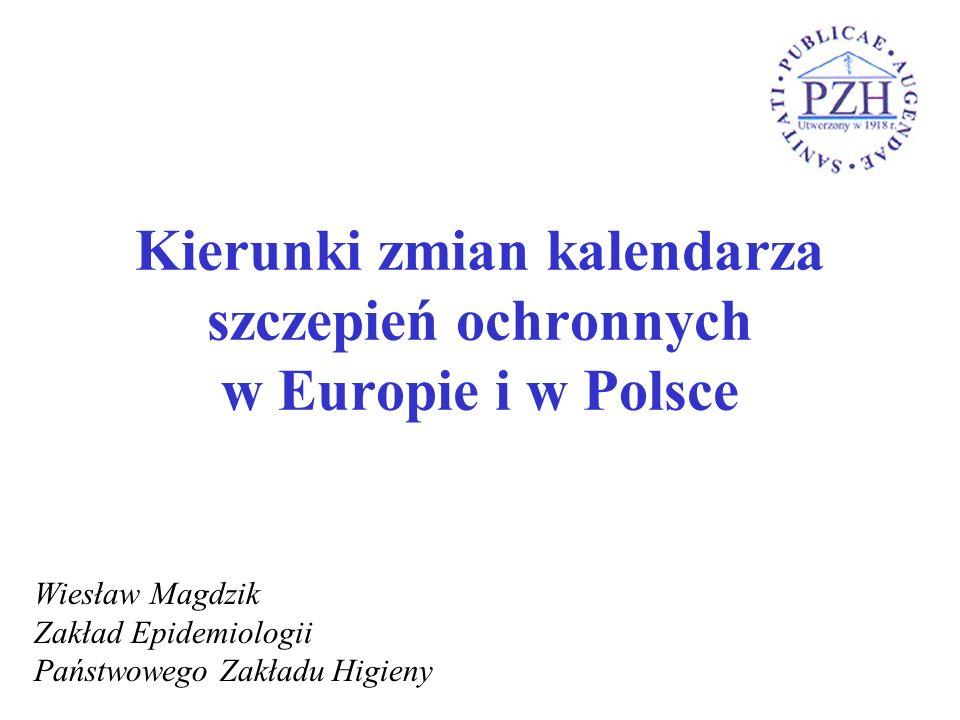 Kierunki zmian kalendarza szczepień ochronnych w Europie i w Polsce Wiesław Magdzik Zakład Epidemiologii Państwowego Zakładu Higieny