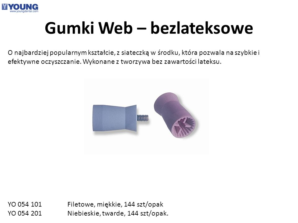 Gumki Web – bezlateksowe O najbardziej popularnym kształcie, z siateczką w środku, która pozwala na szybkie i efektywne oczyszczanie. Wykonane z tworz
