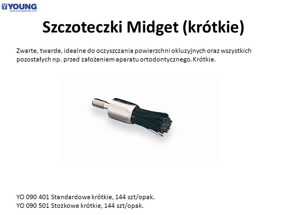 Szczoteczki Midget (krótkie) Zwarte, twarde, idealne do oczyszczania powierzchni okluzyjnych oraz wszystkich pozostałych np. przed założeniem aparatu