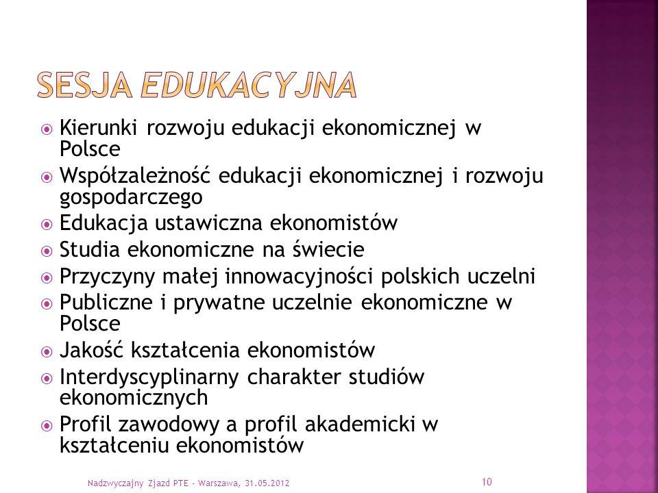 Kierunki rozwoju edukacji ekonomicznej w Polsce Współzależność edukacji ekonomicznej i rozwoju gospodarczego Edukacja ustawiczna ekonomistów Studia ek
