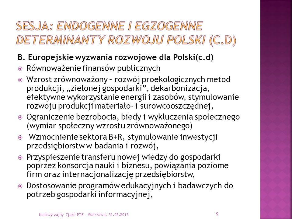 B. Europejskie wyzwania rozwojowe dla Polski(c.d) Równoważenie finansów publicznych Wzrost zrównoważony – rozwój proekologicznych metod produkcji, zie