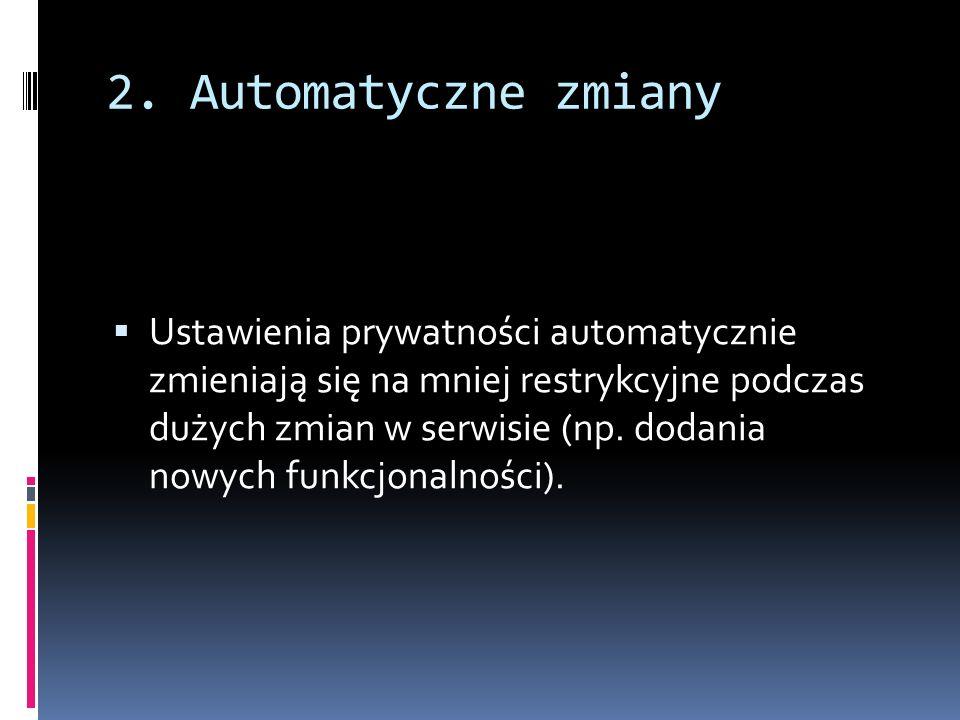 2. Automatyczne zmiany Ustawienia prywatności automatycznie zmieniają się na mniej restrykcyjne podczas dużych zmian w serwisie (np. dodania nowych fu