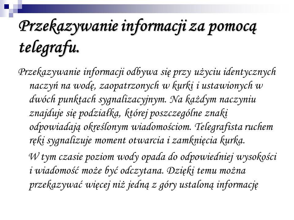 Przekazywanie informacji za pomocą telegrafu. Przekazywanie informacji odbywa się przy użyciu identycznych naczyń na wodę, zaopatrzonych w kurki i ust