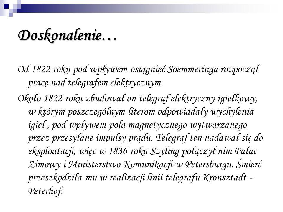 Doskonalenie… Od 1822 roku pod wpływem osiągnięć Soemmeringa rozpoczął pracę nad telegrafem elektrycznym Około 1822 roku zbudował on telegraf elektryc