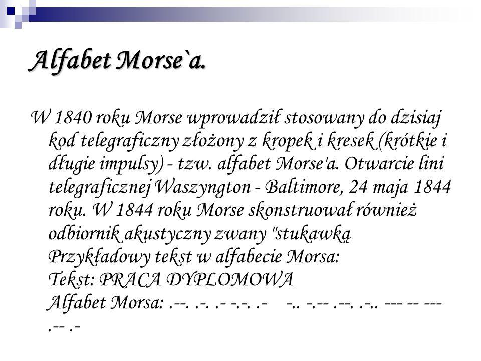 Alfabet Morse`a. W 1840 roku Morse wprowadził stosowany do dzisiaj kod telegraficzny złożony z kropek i kresek (krótkie i długie impulsy) - tzw. alfab