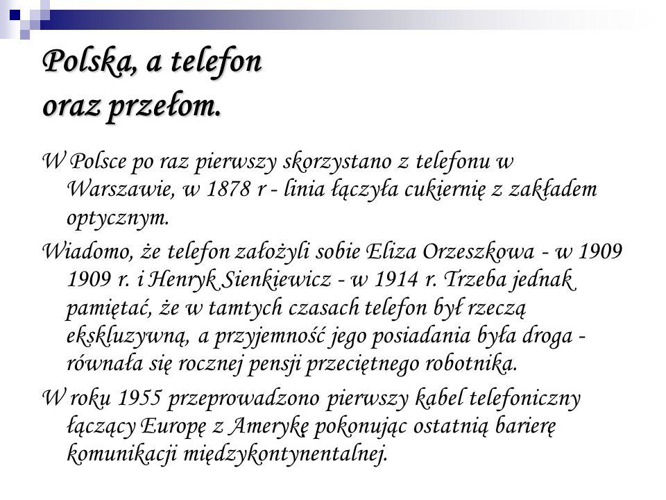 Polska, a telefon oraz przełom. W Polsce po raz pierwszy skorzystano z telefonu w Warszawie, w 1878 r - linia łączyła cukiernię z zakładem optycznym.