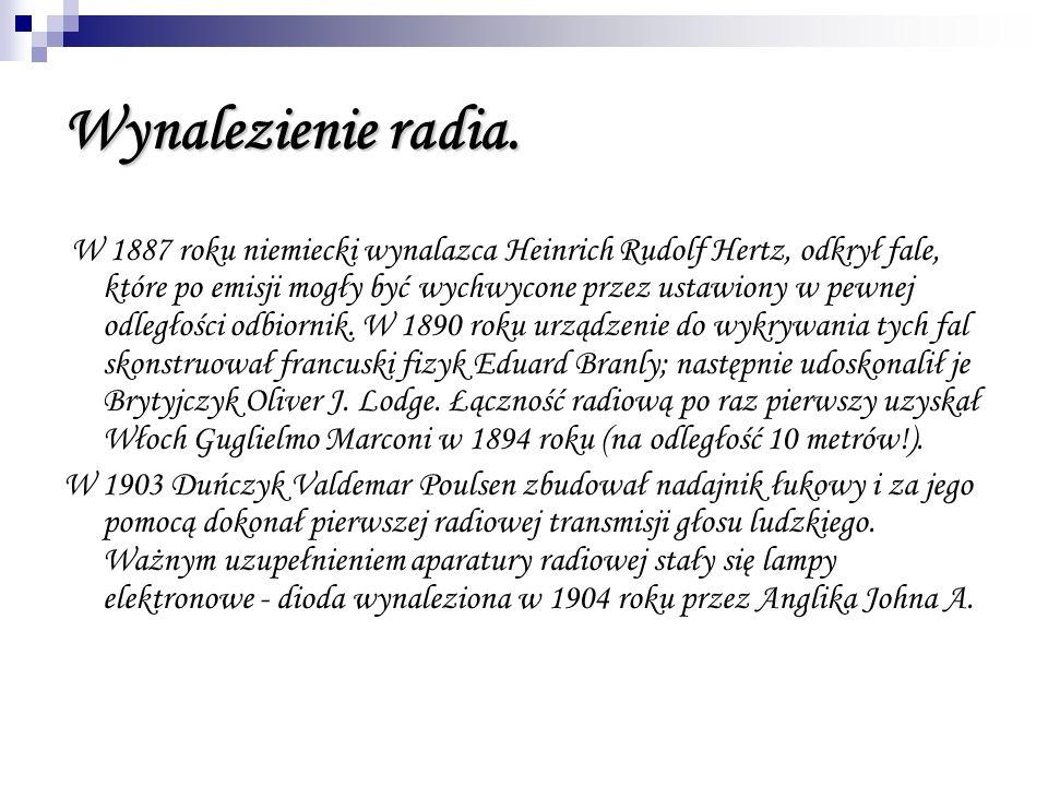 Wynalezienie radia. W 1887 roku niemiecki wynalazca Heinrich Rudolf Hertz, odkrył fale, które po emisji mogły być wychwycone przez ustawiony w pewnej