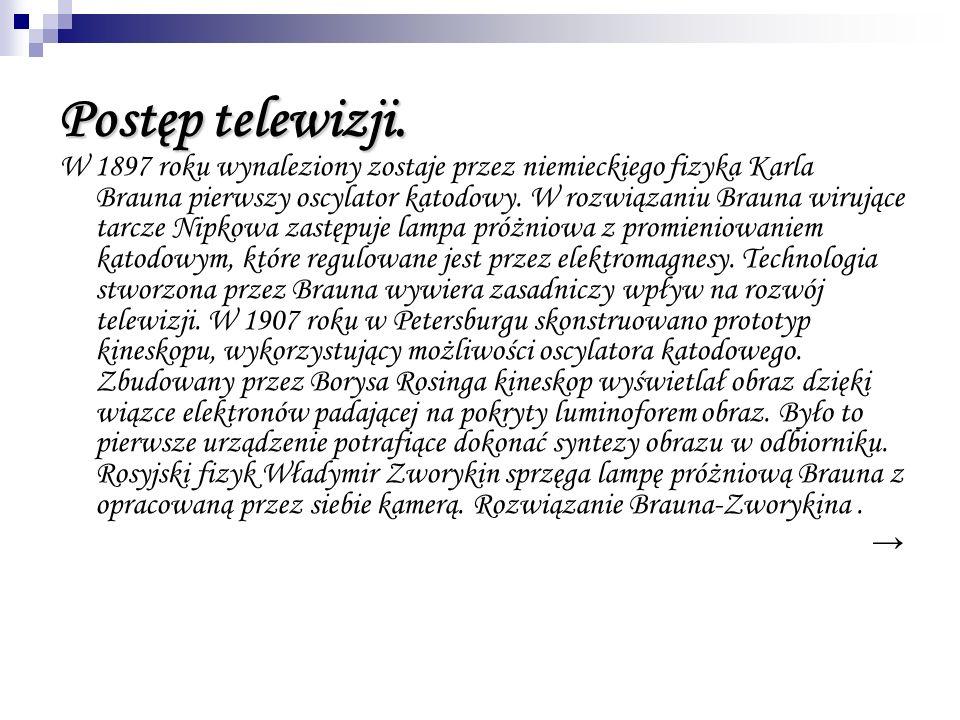 Postęp telewizji. W 1897 roku wynaleziony zostaje przez niemieckiego fizyka Karla Brauna pierwszy oscylator katodowy. W rozwiązaniu Brauna wirujące ta