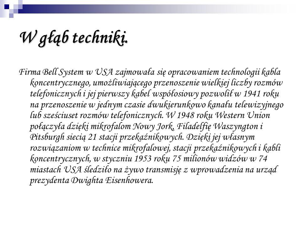 W głąb techniki. Firma Bell System w USA zajmowała się opracowaniem technologii kabla koncentrycznego, umożliwiającego przenoszenie wielkiej liczby ro