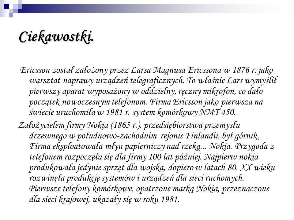 Ciekawostki. Ericsson został założony przez Larsa Magnusa Ericssona w 1876 r. jako warsztat naprawy urządzeń telegraficznych. To właśnie Lars wymyślił