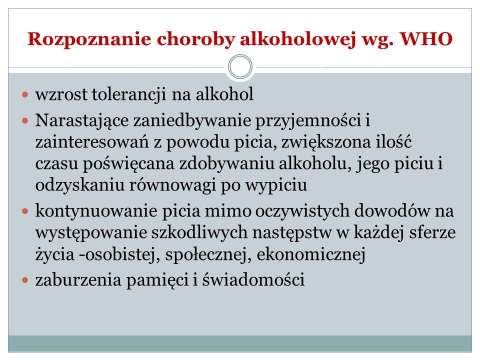 Rozpoznanie choroby alkoholowej wg. WHO wzrost tolerancji na alkohol Narastające zaniedbywanie przyjemności i zainteresowań z powodu picia, zwiększona