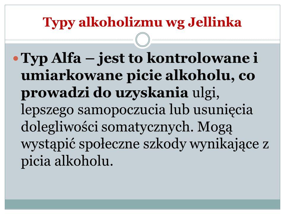 Typy alkoholizmu wg Jellinka Typ Alfa – jest to kontrolowane i umiarkowane picie alkoholu, co prowadzi do uzyskania ulgi, lepszego samopoczucia lub us