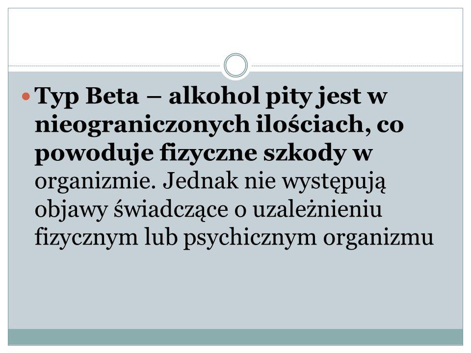 Typ Beta – alkohol pity jest w nieograniczonych ilościach, co powoduje fizyczne szkody w organizmie. Jednak nie występują objawy świadczące o uzależni