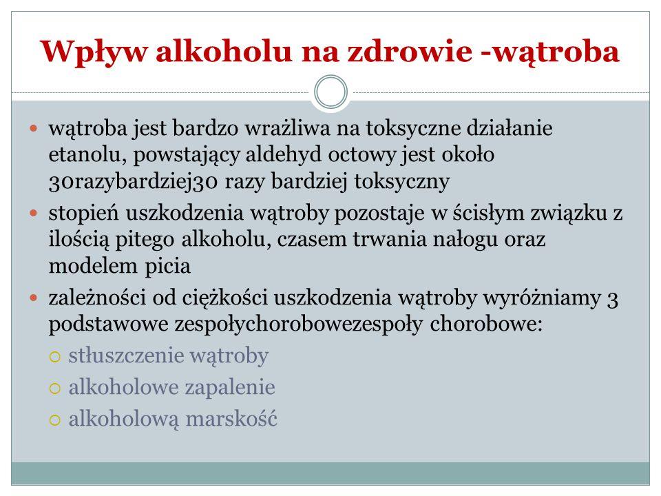 Wpływ alkoholu na zdrowie -wątroba wątroba jest bardzo wrażliwa na toksyczne działanie etanolu, powstający aldehyd octowy jest około 30razybardziej30