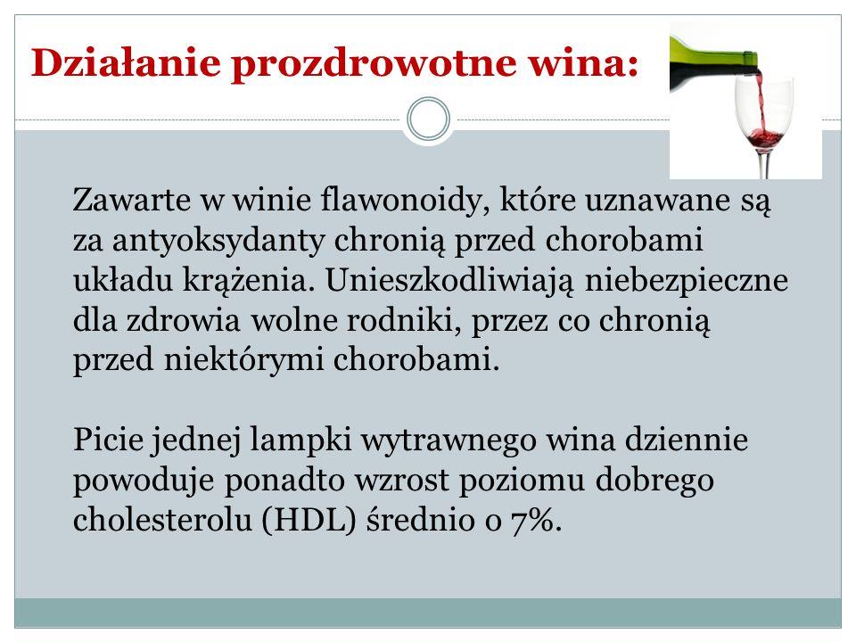 Zawarte w winie flawonoidy, które uznawane są za antyoksydanty chronią przed chorobami układu krążenia. Unieszkodliwiają niebezpieczne dla zdrowia wol