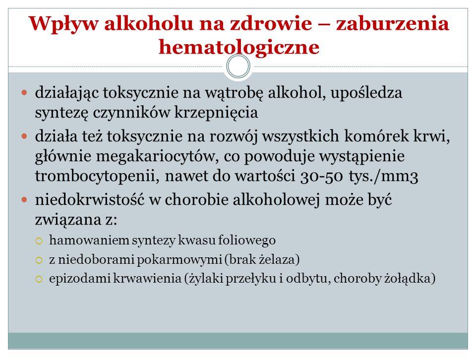 Wpływ alkoholu na zdrowie – zaburzenia hematologiczne działając toksycznie na wątrobę alkohol, upośledza syntezę czynników krzepnięcia działa też toks