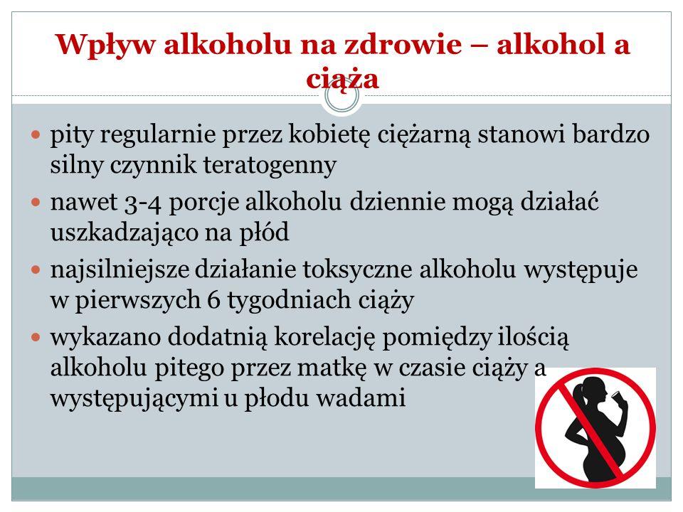 Wpływ alkoholu na zdrowie – alkohol a ciąża pity regularnie przez kobietę ciężarną stanowi bardzo silny czynnik teratogenny nawet 3-4 porcje alkoholu