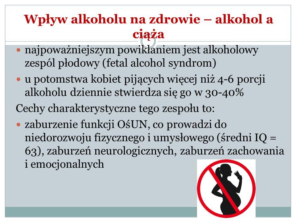 Wpływ alkoholu na zdrowie – alkohol a ciąża najpoważniejszym powikłaniem jest alkoholowy zespól płodowy (fetal alcohol syndrom) u potomstwa kobiet pij