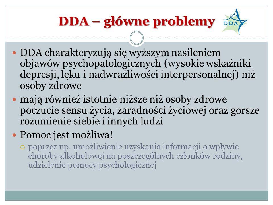 DDA – główne problemy DDA charakteryzują się wyższym nasileniem objawów psychopatologicznych (wysokie wskaźniki depresji, lęku i nadwrażliwości interp