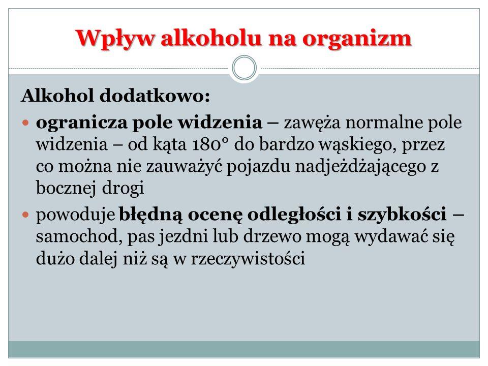 Wpływ alkoholu na organizm Alkohol dodatkowo: ogranicza pole widzenia – zawęża normalne pole widzenia – od kąta 180° do bardzo wąskiego, przez co możn