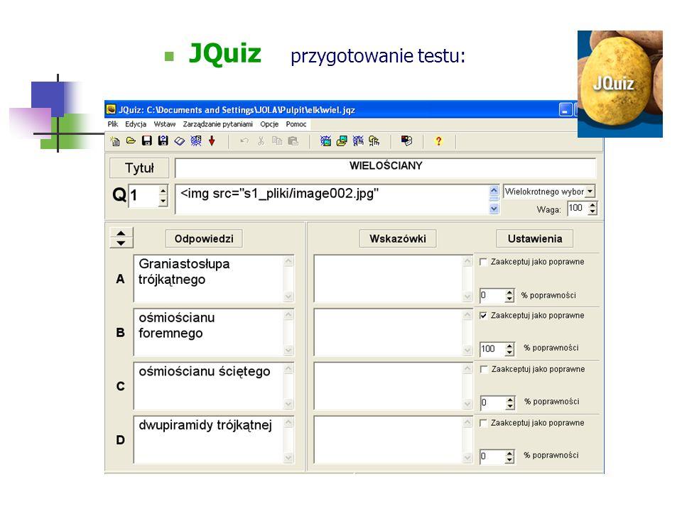 JQuiz przygotowanie testu: