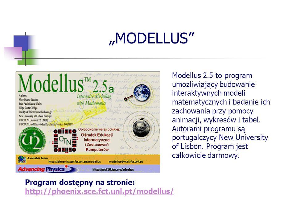 MODELLUS Modellus 2.5 to program umożliwiający budowanie interaktywnych modeli matematycznych i badanie ich zachowania przy pomocy animacji, wykresów