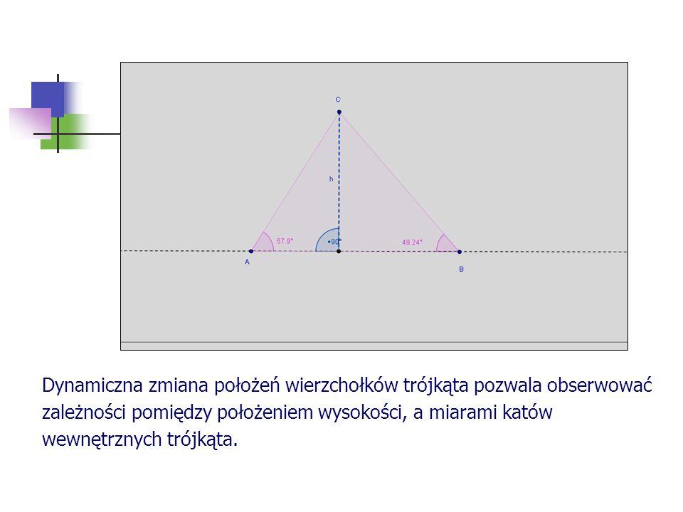 Dynamiczna zmiana położeń wierzchołków trójkąta pozwala obserwować zależności pomiędzy położeniem wysokości, a miarami katów wewnętrznych trójkąta.