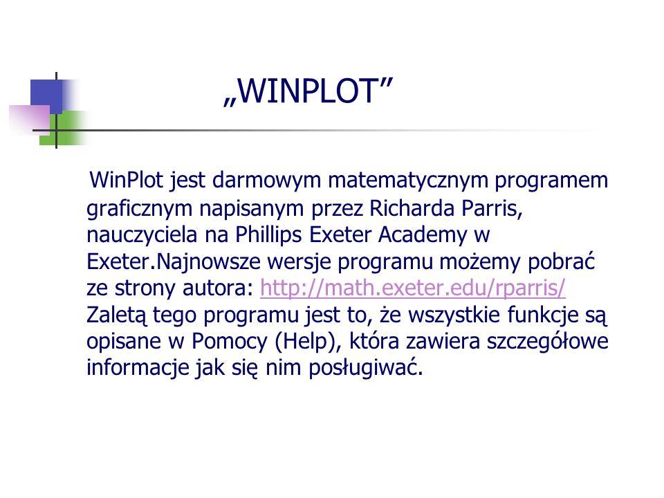 WINPLOT WinPlot jest darmowym matematycznym programem graficznym napisanym przez Richarda Parris, nauczyciela na Phillips Exeter Academy w Exeter.Najn