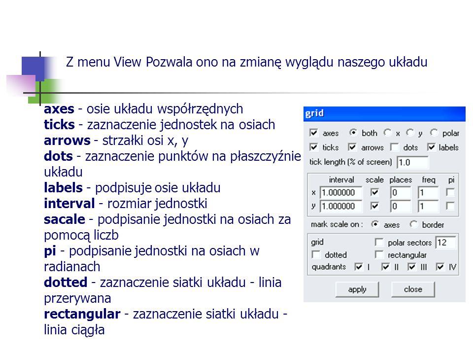 Z menu View Pozwala ono na zmianę wyglądu naszego układu axes - osie układu współrzędnych ticks - zaznaczenie jednostek na osiach arrows - strzałki os