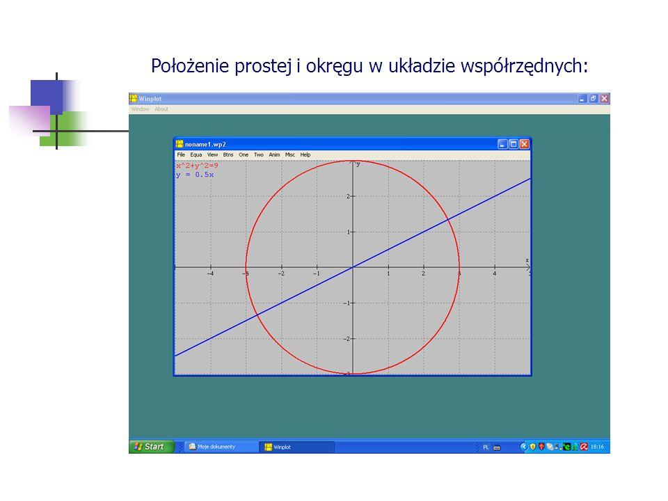 Położenie prostej i okręgu w układzie współrzędnych:
