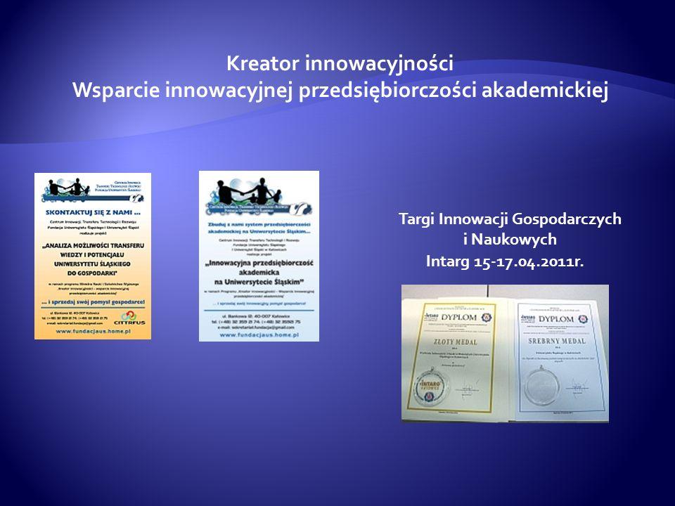 Kreator innowacyjności Wsparcie innowacyjnej przedsiębiorczości akademickiej Intarg 15-17.04.2011r. Targi Innowacji Gospodarczych i Naukowych