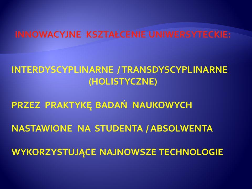 INNOWACYJNE KSZTAŁCENIE UNIWERSYTECKIE: INTERDYSCYPLINARNE / TRANSDYSCYPLINARNE (HOLISTYCZNE) PRZEZ PRAKTYKĘ BADAŃ NAUKOWYCH NASTAWIONE NA STUDENTA / ABSOLWENTA WYKORZYSTUJĄCE NAJNOWSZE TECHNOLOGIE