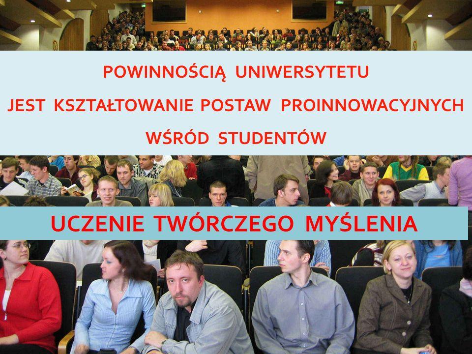 POWINNOŚCIĄ UNIWERSYTETU JEST KSZTAŁTOWANIE POSTAW PROINNOWACYJNYCH WŚRÓD STUDENTÓW UCZENIE TWÓRCZEGO MYŚLENIA