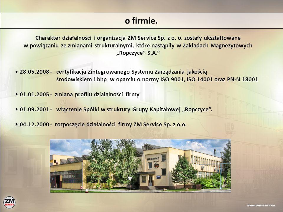 o firmie. Charakter działalności i organizacja ZM Service Sp. z o. o. zostały ukształtowane w powiązaniu ze zmianami strukturalnymi, które nastąpiły w