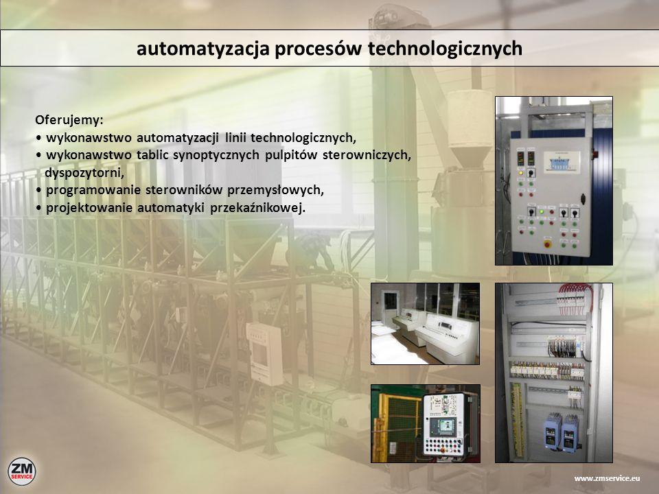 automatyzacja procesów technologicznych Oferujemy: wykonawstwo automatyzacji linii technologicznych, wykonawstwo tablic synoptycznych pulpitów sterown