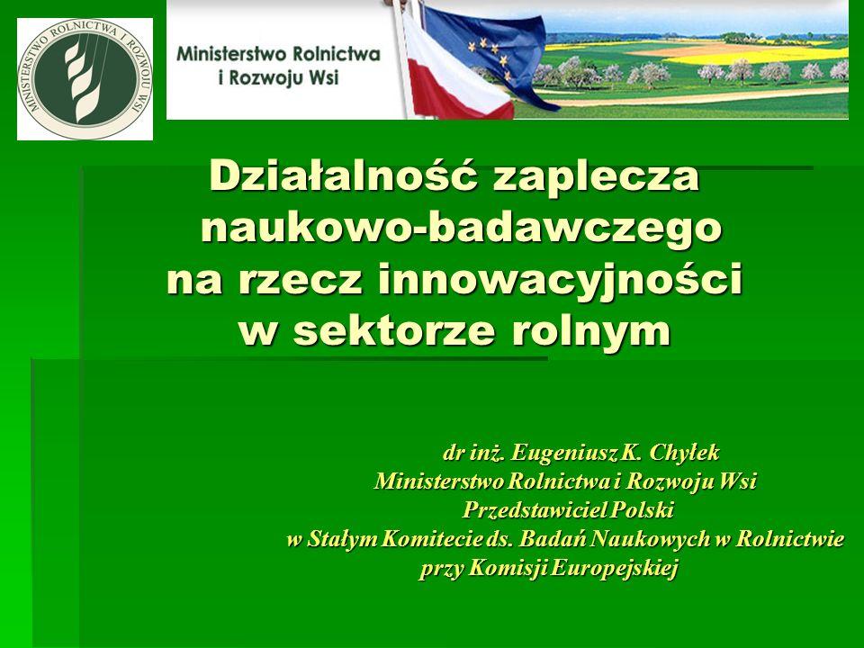 Działalność zaplecza naukowo-badawczego na rzecz innowacyjności w sektorze rolnym dr inż. Eugeniusz K. Chyłek Ministerstwo Rolnictwa i Rozwoju Wsi Prz