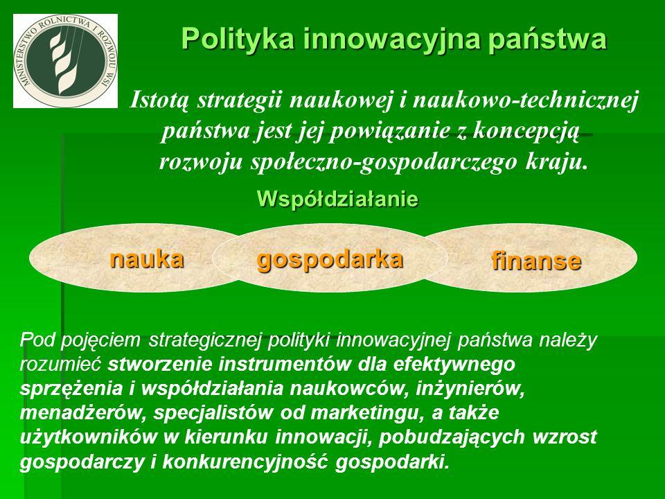 Polityka innowacyjna państwa Polityka innowacyjna państwa Istotą strategii naukowej i naukowo-technicznej państwa jest jej powiązanie z koncepcją rozw
