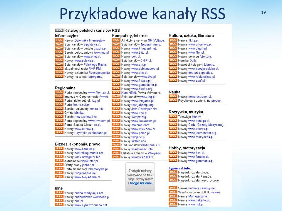 Przykładowe kanały RSS 19