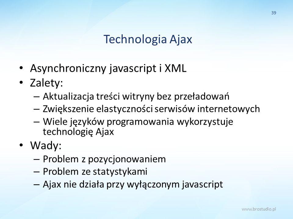 Technologia Ajax Asynchroniczny javascript i XML Zalety: – Aktualizacja treści witryny bez przeładowań – Zwiększenie elastyczności serwisów internetow