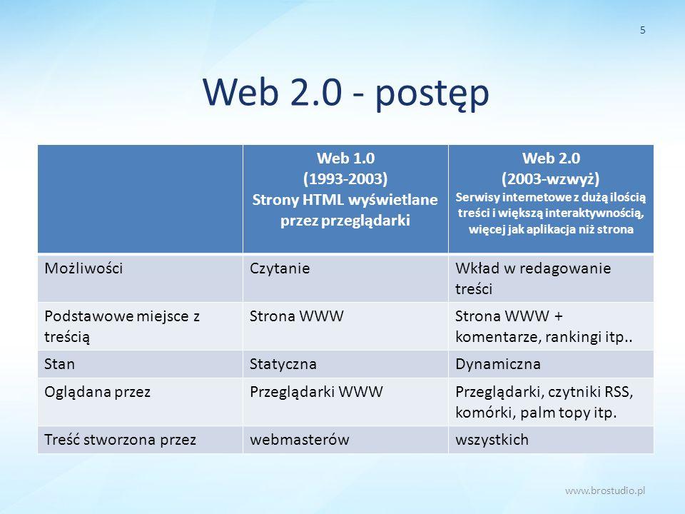 Web 2.0 - postęp Web 1.0 (1993-2003) Strony HTML wyświetlane przez przeglądarki Web 2.0 (2003-wzwyż) Serwisy internetowe z dużą ilością treści i więks
