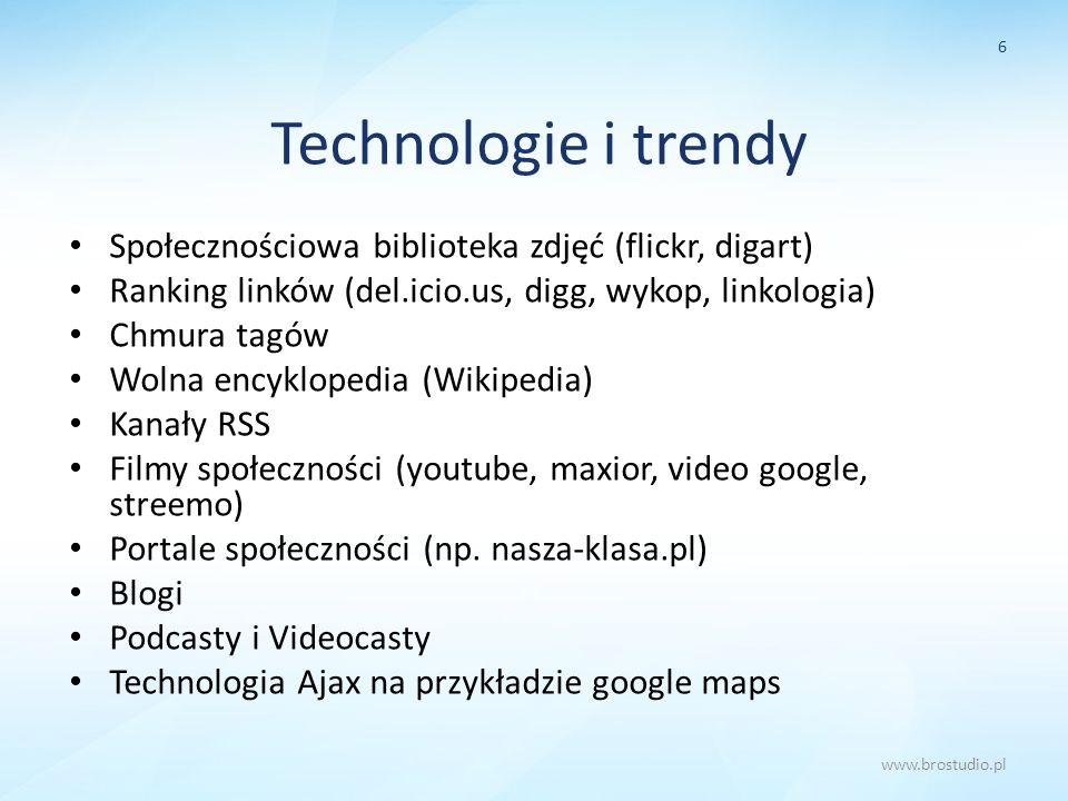 Technologie i trendy Społecznościowa biblioteka zdjęć (flickr, digart) Ranking linków (del.icio.us, digg, wykop, linkologia) Chmura tagów Wolna encykl