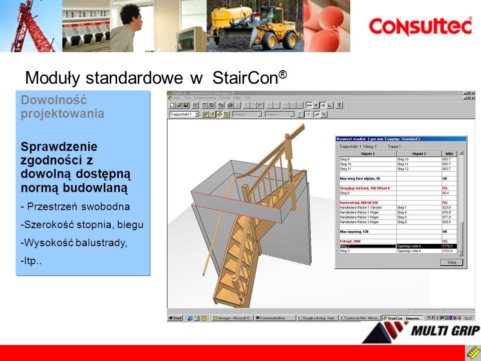Dowolność projektowania Sprawdzenie zgodności z dowolną dostępną normą budowlaną - Przestrzeń swobodna -Szerokość stopnia, biegu -Wysokość balustrady,