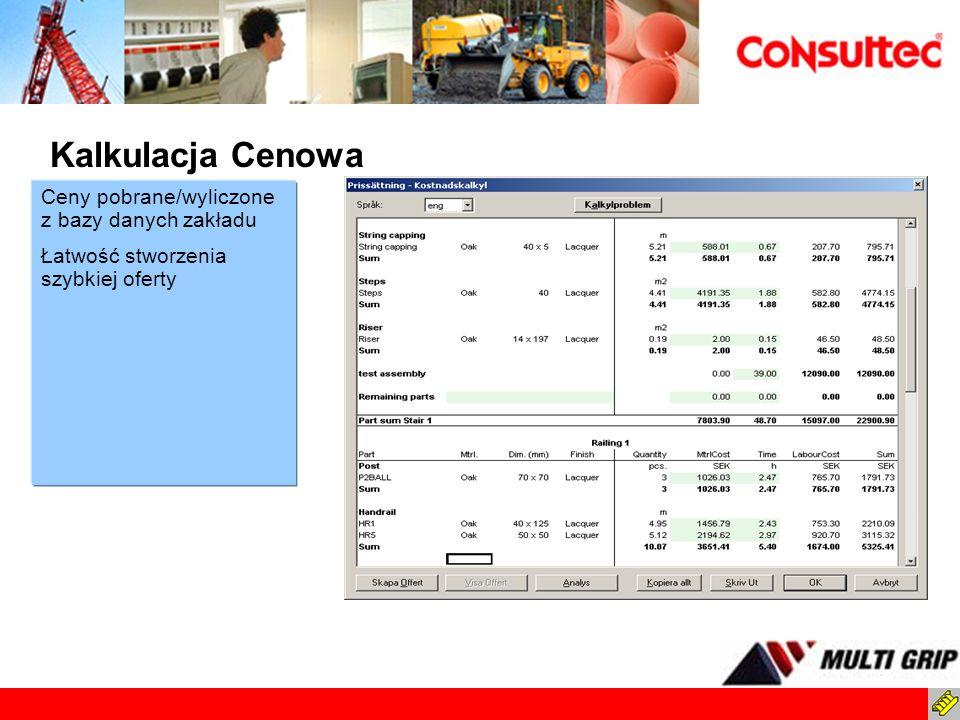 Ceny pobrane/wyliczone z bazy danych zakładu Łatwość stworzenia szybkiej oferty Kalkulacja Cenowa