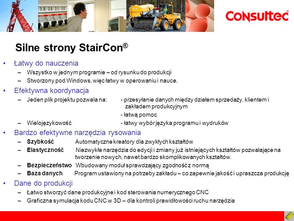 Silne strony StairCon ® Łatwy do nauczenia –Wszystko w jednym programie – od rysunku do produkcji –Stworzony pod Windows, więc łatwy w operowaniu i na