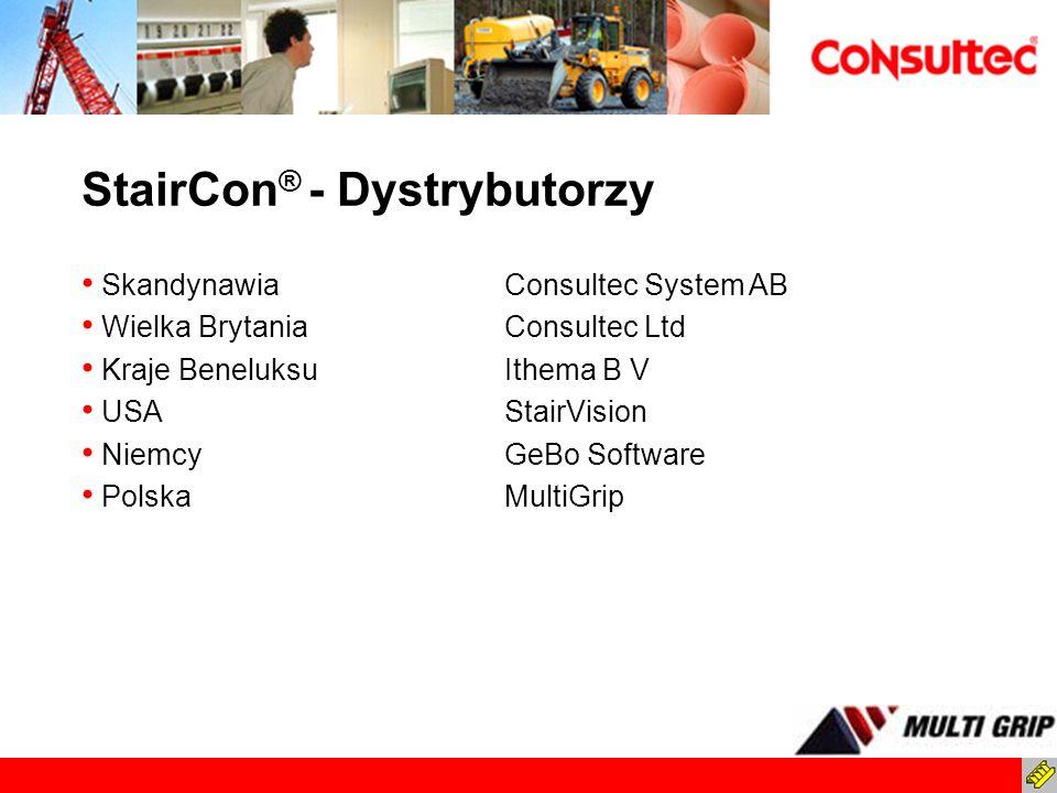 StairCon ® - Dystrybutorzy SkandynawiaConsultec System AB Wielka BrytaniaConsultec Ltd Kraje BeneluksuIthema B V USAStairVision NiemcyGeBo Software Po