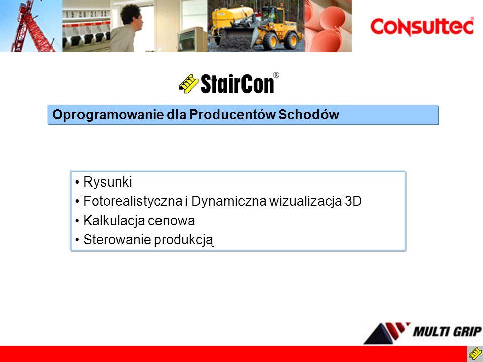 Rysunki Fotorealistyczna i Dynamiczna wizualizacja 3D Kalkulacja cenowa Sterowanie produkcją Oprogramowanie dla Producentów Schodów
