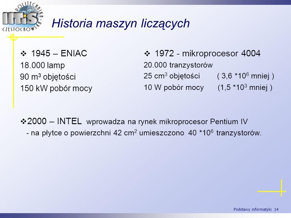 Podstawy informatyki 14 Historia maszyn liczących 1945 – ENIAC 18.000 lamp 90 m 3 objętości 150 kW pobór mocy 1972 - mikroprocesor 4004 20.000 tranzys