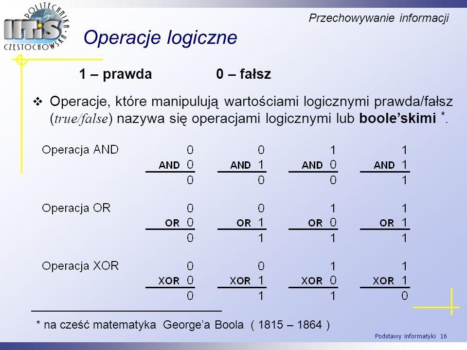 Podstawy informatyki 16 Operacje logiczne 1 – prawda 0 – fałsz Operacje, które manipulują wartościami logicznymi prawda/fałsz ( true/false ) nazywa si