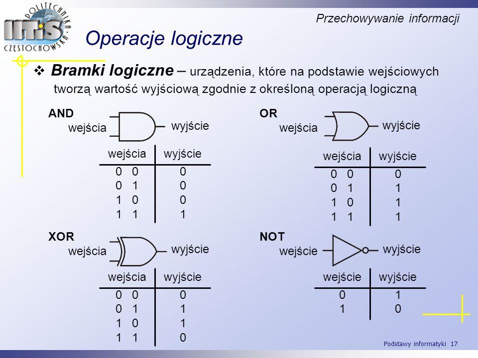 Podstawy informatyki 17 Operacje logiczne Bramki logiczne – urządzenia, które na podstawie wejściowych tworzą wartość wyjściową zgodnie z określoną op