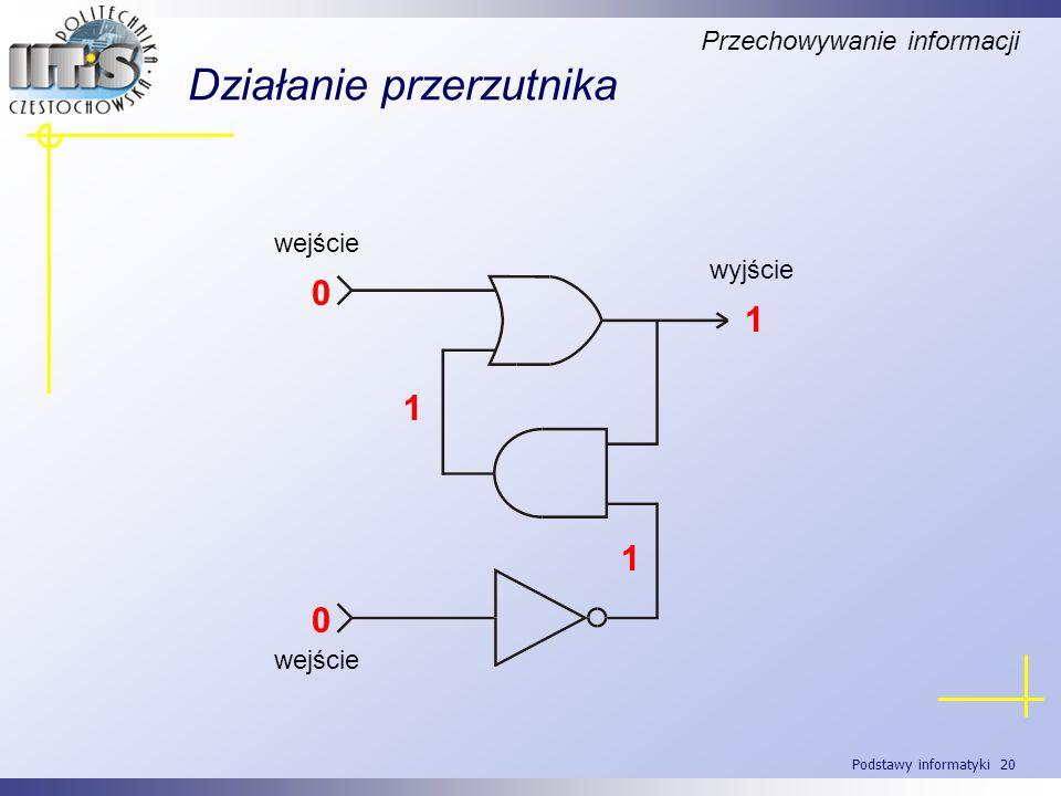 Podstawy informatyki 20 Działanie przerzutnika Przechowywanie informacji wyjście wejście 0 0 1 1 1